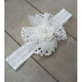Κορδέλα μαλλιών με δαντέλα, πλεκτό λουλούδι λευκό και πέρλα - ΚΩΔ:Kor10-123