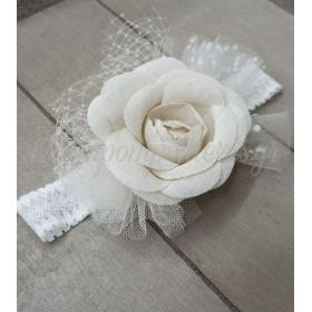 Κορδέλα μαλλιών με δαντέλα, υφασμάτινο λουλούδι και τούλι πουά- ΚΩΔ:Kor11-123