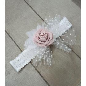 Κορδέλα μαλλιών με δαντέλα και λουλούδι βελούδινο ρoζ - ΚΩΔ:Kor8-123