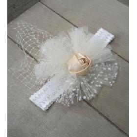 Κορδέλα μαλλιών με δαντέλα και λουλούδι σατέν ιβουάρ - ΚΩΔ:Kor9-123