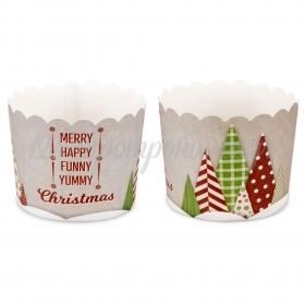 Θήκες για cupcake yummy christmas 6-7cm, ύψος 5,5cm - ΚΩΔ:00001611-SW