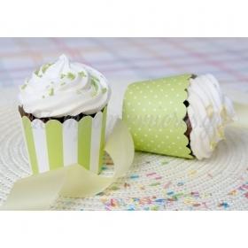 Θήκες για cupcake λαχανί ριγέ και πουά 5-6cm, ύψος 4,5cm- ΚΩΔ:00001625-SW