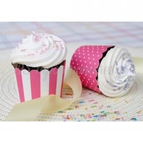 Θήκες για cupcake ροζ ριγέ και πουά 5-6cm, ύψος 4,5cm- ΚΩΔ:00001626-SW