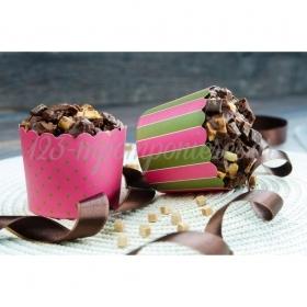 Θήκες για cupcake φουξ- χακί 6-7cm, ύψος 5,5cm- ΚΩΔ:00001629-SW