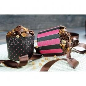 Θήκες για cupcake φουξ- μαύρο 6-7cm, ύψος 5,5cm- ΚΩΔ:00001630-SW