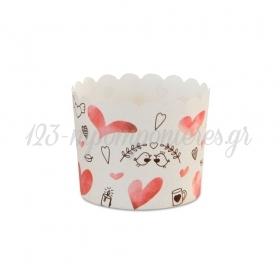Θήκες για cupcake με καρδιές 6-7cm, ύψος 5,5cm - ΚΩΔ:00001633-SW