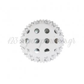 Καραμελόχαρτα λευκά- ασημί πουά 50mm Σετ 30τεμ - ΚΩΔ:00004918-SW