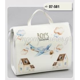 Τσάντα βάπτισης από δερματίνη τυπωμένη - αεροπλανάκι - ΚΩΔ:07-581-ZB