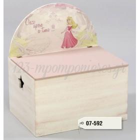 Ξύλινο Μπαούλο με στρογγυλεμένη πλάτη - πριγκήπισσα - ΚΩΔ:07-592-ZB