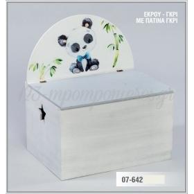 Ξύλινο Μπαούλο με στρογγυλεμένη πλάτη - ζωάκι panda - ΚΩΔ:07-642-ZB