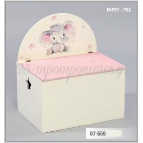 Ξύλινο Μπαούλο με στρογγυλεμένη πλάτη - ελεφαντάκι ροζ - ΚΩΔ:07-659-ZB