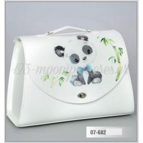 Τσάντα βάπτισης από δερματίνη τυπωμένη - ζωάκι Panda - ΚΩΔ:07-682-ZB
