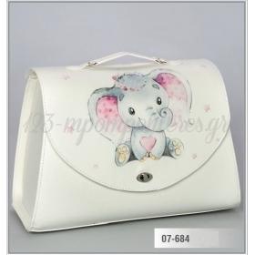 Τσάντα βάπτισης από δερματίνη τυπωμένη - ελεφαντάκι ροζ - ΚΩΔ:07-684-ZB