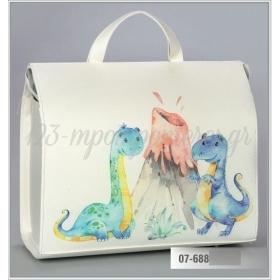 Τσάντα βάπτισης από δερματίνη τυπωμένη - δεινοσαυράκια - ΚΩΔ:07-688-ZB