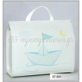 Τσάντα βάπτισης από δερματίνη τυπωμένη - καραβάκι - ΚΩΔ:07-691-ZB
