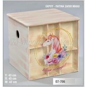 Ξύλινο τετράγωνο μπαούλο με τυπωμένη παράσταση σε πλέξιγκλας και εσωτερική ραφιέρα - Μονόκερος με λουλούδια - ΚΩΔ:07-706-ZB