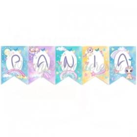 Σημαιάκια με Όνομα Ουράνιο Τόξο & Μονοκεράκι - ΚΩΔ:P25965-38-BB