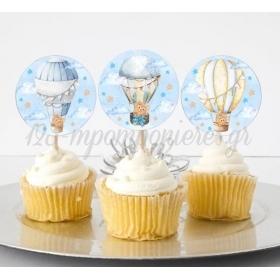Στικάκι Cupcake Αρκουδάκι σε Αερόστατο 13cm - ΚΩΔ:P25917-23-BB