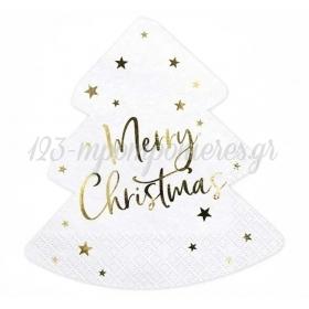 """Χαρτοπετσέτες Χριστουγεννιάτικο Δέντρο """"Merry Christmas"""" 16X16.5cm - ΚΩΔ:SPK8-BB"""