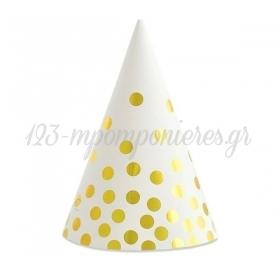 Καπέλο Άσπρο με Χρυσό Πουά - ΚΩΔ:PF-CPZGB-BB