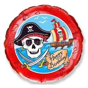 """Μπαλόνι Foil 18""""(45cm) Πειρατές Happy Birthday - ΚΩΔ:401541-BB"""