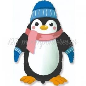 """Μπαλόνι Foil 24""""(60cm) Πιγκουίνος Με Σκουφάκι Και Κασκόλ - ΚΩΔ:901845-BB"""