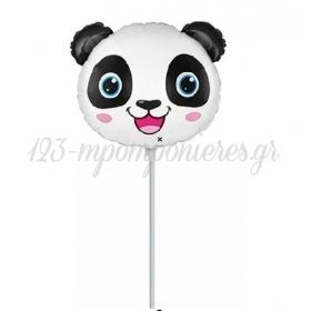 """Μπαλόνι Foil 14""""(37cm) Mini Shape Κεφάλι Panda - ΚΩΔ:902821-BB"""