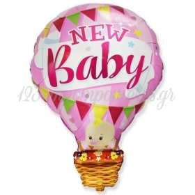 """Μπαλόνι Foil 24""""(60cm) Αερόστατο New Baby Girl - ΚΩΔ:901830-BB"""