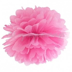 Ροζ Χάρτινο Pom Pom 25cm - ΚΩΔ:PP25-006-BB