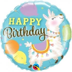 """Mπαλόνι Foil 18""""(46cm) Happy Birthday Λάμα- ΚΩΔ:85905-BB"""