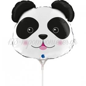 "Mπαλόνι Foil 14""(35cm) Mini Shape Κεφάλι Αρκουδάκι Panda - ΚΩΔ:G72061-BB"