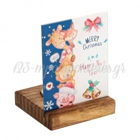 Plexiglass με Χριστουγεννιάτικο Θέμα σε Ξύλινη Βάση Ρεσώ 8X8X11.5cm - ΚΩΔ:M10632-AD
