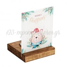 Plexiglass με Αρκουδάκι - Merry Christmas σε Ξύλινη Βάση Ρεσώ 8X8X11.5cm - ΚΩΔ:M10633-AD