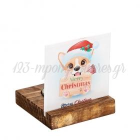 Plexiglass με Αλεπού - Merry Christmas σε Ξύλινη Βάση Ρεσώ 8X8X9.5cm - ΚΩΔ:M10634-AD