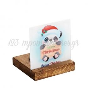 Plexiglass με Panda - Merry Christmas σε Ξύλινη Βάση Ρεσώ 8X8X9.5cm - ΚΩΔ:M10635-AD