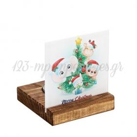 Plexiglass με Ζωάκια - Χριστουγεννιάτικο Δέντρο σε Ξύλινη Βάση Ρεσώ 8X8X9.5cm - ΚΩΔ:M10637-AD
