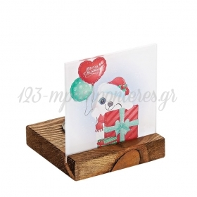 Plexiglass με Αρκουδάκι - Χριστουγεννιάτικο Δώρο σε Ξύλινη Βάση Ρεσώ 8X8X9.5cm - ΚΩΔ:M10638-AD