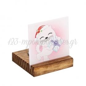 Plexiglass με Γατάκι - Χριστουγεννιάτικο Δώρο σε Ξύλινη Βάση Ρεσώ 8X8X9.5cm - ΚΩΔ:M10639-AD