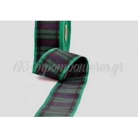 Κορδελα Υφασματινη Καρρω Ουγια Μπλε-Πρασινο Σκουρο 38Μμ / 20Μ - ΚΩΔ: Scowe038X20-1