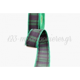 Κορδελα Υφασματινη Καρρω Ουγια Μπλε-Πρασινο Σκουρο 25 Mm / 20Μ - ΚΩΔ: Scowe025X20-2
