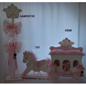 Βαπτιστικα Για Κοριτσια - Κουτι Αμαξα Με Αλογακι Και Λαμπαδα Καλογερο - Σετ 2Τμχ - ΚΩΔ: Lampk755-151-K698