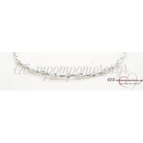Στεφανα Γαμου Απο Επιπλατινωμενο Μεταλλο Ασημι Με Περλα - Σετ - ΚΩΔ:N184-Sl