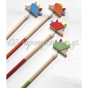 Μπομπονιέρα Βάπτισης ξύλινο μολύβι σκαντζόχοιρος - Κωδ:MPO-22994