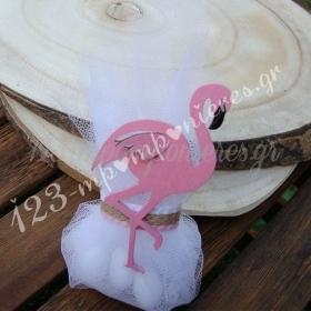 Μπομπονιερα Βαπτισης Ξυλινο Φλαμινγκο - Ροζ - ΚΩΔ:Mpo-04284