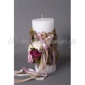 Κερι Με Διακοσμηση Απο Φλοιους Ξυλου Και Τριανταφυλλα 12Χ30 - ΚΩΔ:1016949-25-Rd