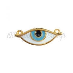 Μεταλλικό Ζάμακ Χυτό Μοτίφ Μάτι με Σμάλτο 32x12mm - ΚΩΔ:78433201-NG
