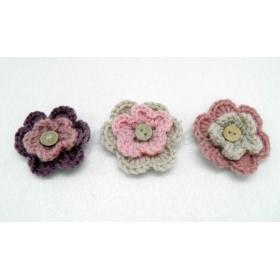 Πλεκτο Λουλουδι Με Κουμπι 5.5Cm ΚΩΔ:508030