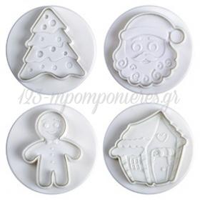 Κουπατ Σετ 4 Pavoni Lapland Gingerbred/Δεντρο/Σπιτι/Αη Βασιλης - ΚΩΔ:Kou0242-Sw