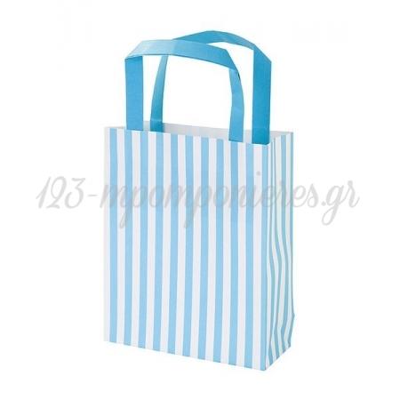 Τσάντα δώρου ριγέ σιέλ - ΚΩΔ:MIX-PARTYBAG-BL-JP