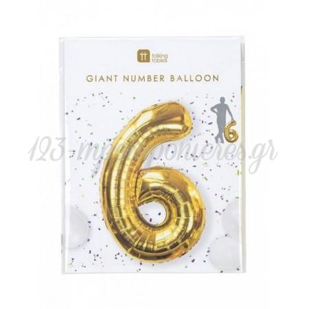 Μπαλόνι χρυσό foil αριθμός 6 - ΚΩΔ:BDAY-BALL-6-JP